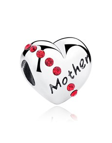 jewellery: Silver 925 Heart Mother Charm with Red Cubic Charm!