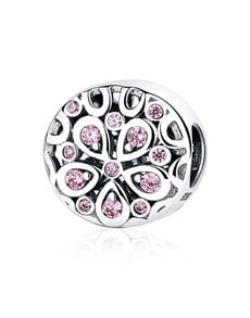 jewellery: Silver 925 Round Flower Design Pink Cubic Charm!