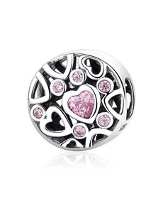 jewellery: Silver 925 Round Heart Design Pink Cubic Charm!