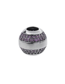jewellery: Silver 925 Round Pink Pave Cubic Stones Charm!