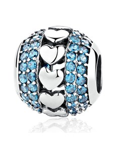 jewellery: Silver 925 Round Heart and Blue Cubic Charm!