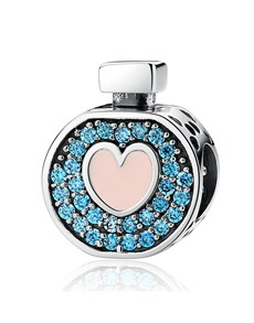 jewellery: Silver 925 Round Perfume Bottle Blue Cubic Charm!