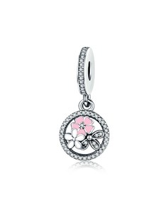 jewellery: Silver 925 Round Open Pink Enamel Flower Charm!