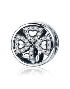 jewellery: Silver 925 Round Open Hearts Pave Cubic Charm!