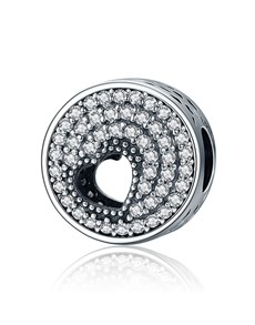 jewellery: Silver 925 Round Clear Pave and Cut out Heart!