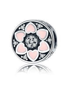 Silver 925 Round Flower Hearts Pink Enamel Charm