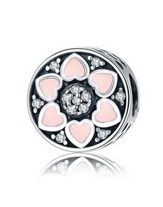 jewellery: Silver 925 Round Flower Hearts Pink Enamel Charm!