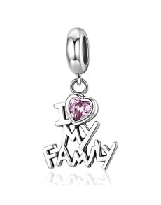 jewellery: Silver 925 I love My Family with Pink Cubic Dangle!