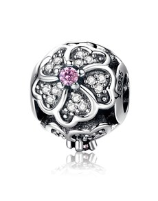 jewellery: Silver 925 Round Flower Clear and Pink Cubic Charm!