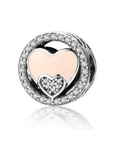 jewellery: Silver 925 Round Double Heart Pink Enamel!