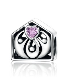 jewellery: Silver 925 House and Family Pink Zirconia Charm!