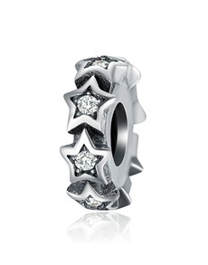 jewellery: Silver 925 Stars Cubic Spacer Charm!