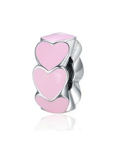 jewellery: Silver 925 Hearts Pink Enamel Spacer Charm!