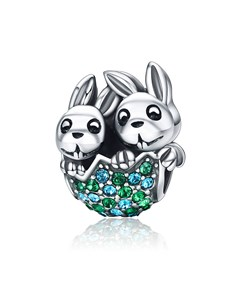 jewellery: Silver Easter Bunny and Egg Charm!