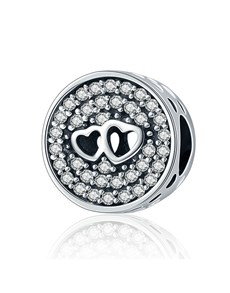 jewellery: Silver Round Pave Double Heart Charm!