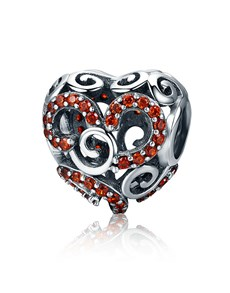 jewellery: Silver Filigree Heart With Red Cubics!
