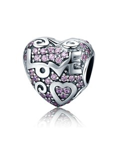 jewellery: Silver Heart Love Pink Cubic Charm!