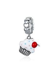 jewellery: Silver Dangle Enamel Cup Cake Charm!