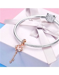 jewellery: Silver Rose Pave Cubic Key Charm!