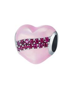 jewellery: Silver Pink Romantic Enamel Heart Charm!