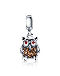 jewellery: Silver Cubic Wise Owl Dangle Charm!