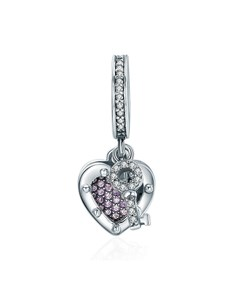 jewellery: Silver Cubic Dangle Heart and Key Charm!
