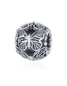 jewellery: Silver Filigree Butterfly Round Charm!