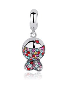 jewellery: Silver Dangle Fish Charm With Colour Cubic Stones!