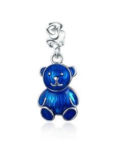 jewellery: Silver Blue Enamel Teddy Bear Dangle Charm!
