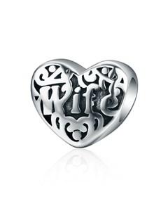 jewellery: Silver Heart Filigree Wife Charm!