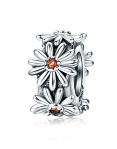 jewellery: Silver And Cubic Spacer Flower Design Charm!