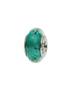 jewellery: Silver Faceted Turquoise Murano Glass Charm!