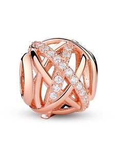 jewellery: Rose Gold Plated Open Pave Cross Over Charm!
