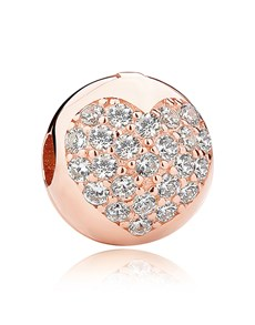 jewellery: Rose Gold Plated Round Pave Heart Charm!