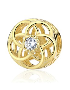 jewellery: Yellow Gold Plated Open Flower Cubic Charm!