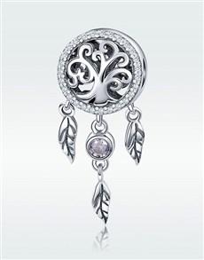 jewellery: Silver Round Dream Catcher Filigree Tree Charm!