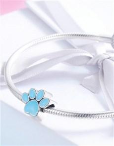 jewellery: Silver Paw Print Enamel Charm!