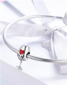 jewellery: Silver Red Wine Glass Charm!