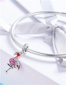 jewellery: Silver Flamingo Enamel Charm!