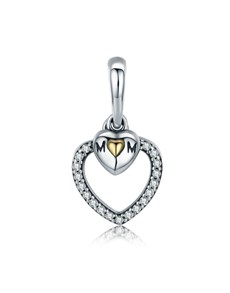 jewellery: Silver Open Heart small Heart Mom Charm!