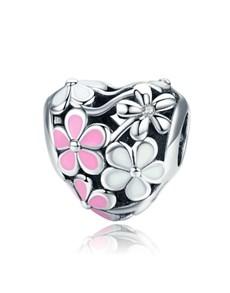 jewellery: Silver Pink Enamel Floral Heart Charm!