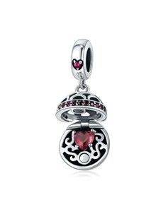 jewellery: Silver Filigree Round Basket Red Heart Charm!