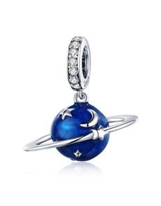 Silver Blue Enamel Galaxy Charm