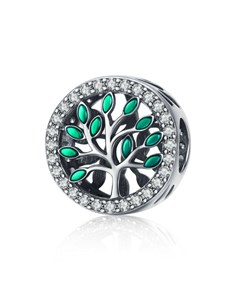 jewellery: Silver Round Cubic Tree Of Life Charm!