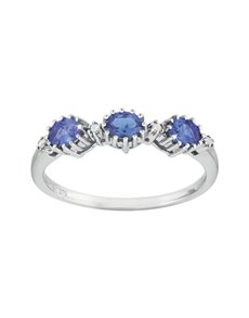 jewellery: 9ct White Gold Tanzanite 0.51ct Diamond Ring!