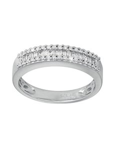 jewellery: 9ct White Gold Baguette Cut Diamond Ring!