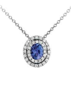 jewellery: 9KT 0.37ct Oval Tanzanite Double Diamond Necklace!