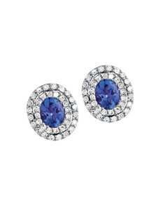 jewellery: 9ct White Gold Diamond and Tanzanite Earrings!