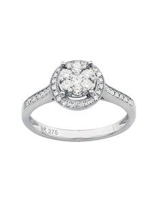 jewellery: 9KT White Gold 0,41ct Diamond Illusion set Ring!