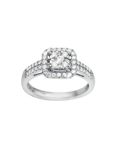 jewellery: Square Set Solitaire White Gold Diamond Ring!